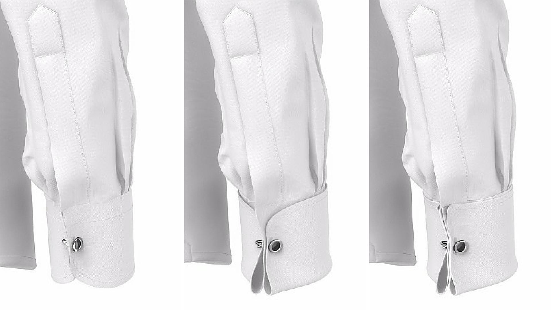 Polsini per gemelli, singoli o doppi su camicia da cerimonia
