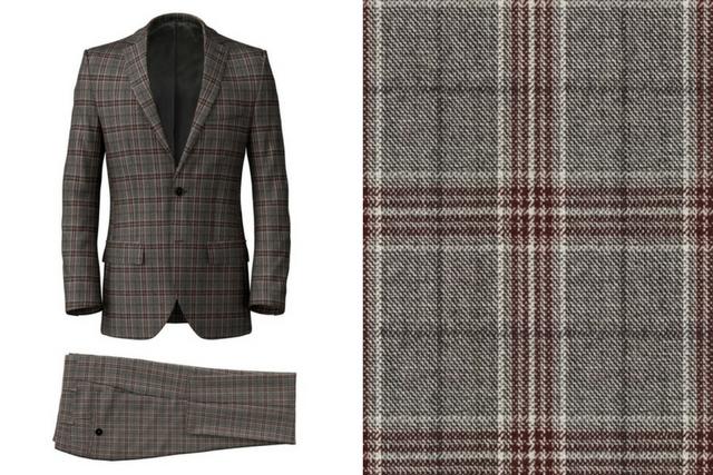 Grey Purple Check Suit